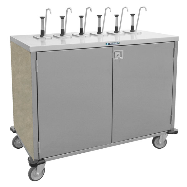 """Lakeside 70221BS Stainless Steel E-Z Serve 4-Pump Condiment Dispensing Cart with Beige Suede Finish for 3 Gallon Condiment Pouches - 27 1/2"""" x 33"""" x 48 1/2"""" Main Image 1"""