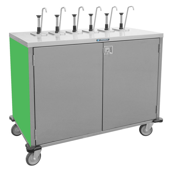 "Lakeside 70211G Stainless Steel E-Z Serve 6-Pump Condiment Dispensing Cart with Green Finish for 3 Gallon Condiment Pouches - 27 1/2"" x 50 1/4"" x 48 1/2"""
