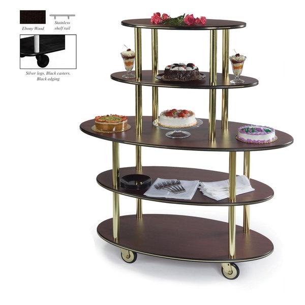 "Geneva 37212-08 5 Oval Shelf Dessert Cart with Ebony Wood Finish - 24"" x 50"" x 56"""