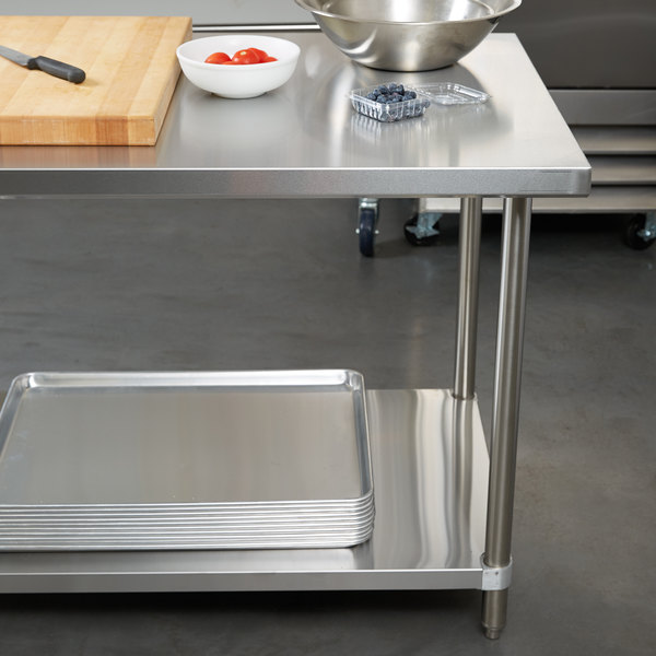 "Regency 30"" x 60"" All 18-Gauge 430 Stainless Steel Commercial Work Table with Undershelf Main Image 3"