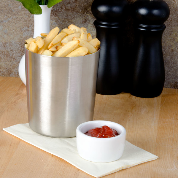 "American Metalcraft FFC335 4 1/2"" Satin Stainless Steel French Fry Cup"