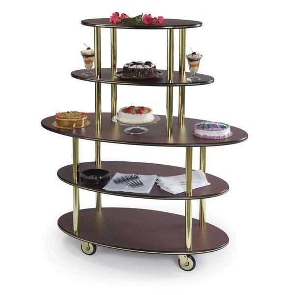 "Geneva 37212-11 5 Oval Shelf Dessert Cart with Mahogany Finish - 24"" x 50"" x 56"" Main Image 1"