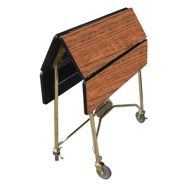 """Lakeside 416 Mobile Square Top Fold-Up Room Service Table with Victorian Cherry Finish - 22 1/4"""" x 36"""" x 30"""""""