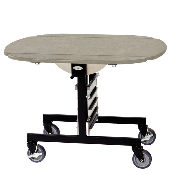 "Geneva 74405 Mobile Oval Top Tri-Fold Room Service Table with Beige Suede Finish - 36"" x 43"" x 31"""