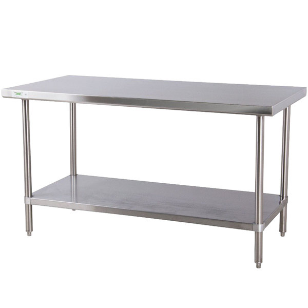 "Regency 24"" x 48"" All 18-Gauge 430 Stainless Steel Commercial Work Table with Undershelf"