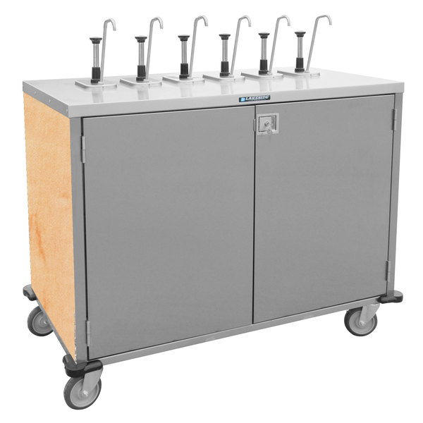 "Lakeside 70221HRM Stainless Steel E-Z Serve 4-Pump Condiment Dispensing Cart with Hard Rock Maple Finish for 3 Gallon Condiment Pouches - 27 1/2"" x 33"" x 48 1/2"""