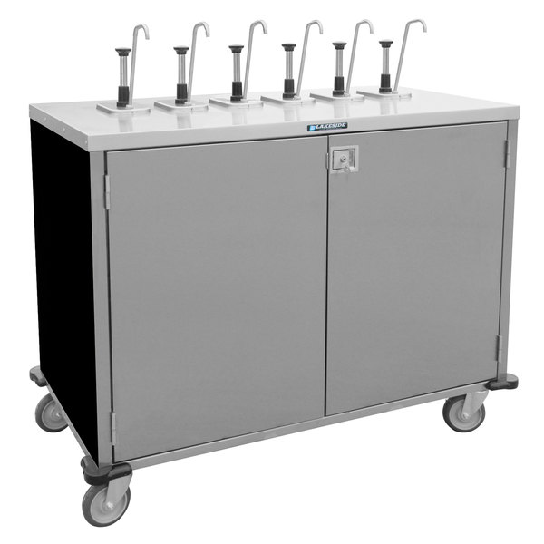 "Lakeside 70201B Stainless Steel E-Z Serve 8-Pump Condiment Dispensing Cart with Black Finish for 3 Gallon Condiment Pouches - 27 1/2"" x 50 1/4"" x 48 1/2"" Main Image 1"