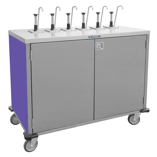 "Lakeside 70211P Stainless Steel E-Z Serve 6-Pump Condiment Dispensing Cart with Purple Finish for 3 Gallon Condiment Pouches - 27 1/2"" x 50 1/4"" x 48 1/2"""