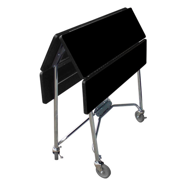 """Lakeside 416 Mobile Square Top Fold-Up Room Service Table with Black Finish - 22 1/4"""" x 36"""" x 30"""""""
