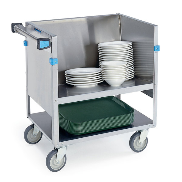 Lakeside 405 Stainless Steel Two Shelf Store 'N Carry Dish Cart - 100 Dish Capacity