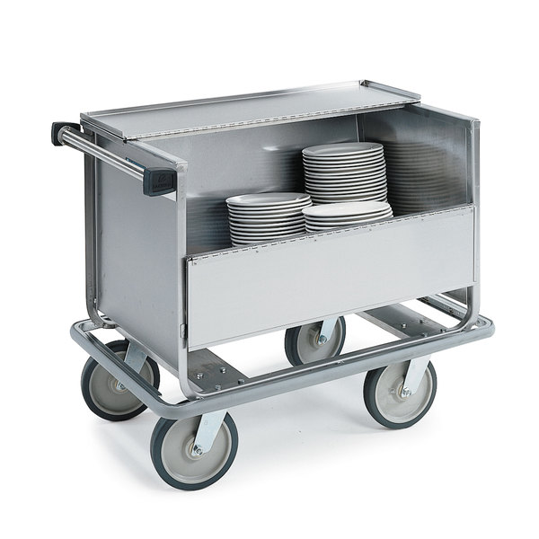Lakeside 707 Stainless Steel Single Shelf Store 'N Carry Dish Cart - 200 Dish Capacity