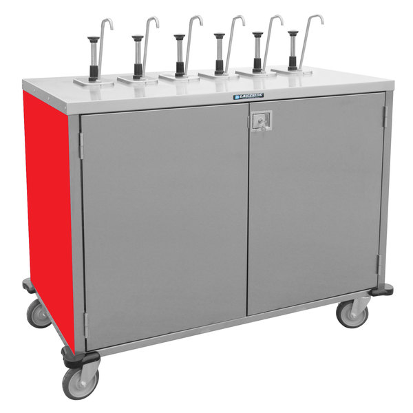 "Lakeside 70211RD Stainless Steel E-Z Serve 6-Pump Condiment Dispensing Cart with Red Finish for 3 Gallon Condiment Pouches - 27 1/2"" x 50 1/4"" x 48 1/2"""