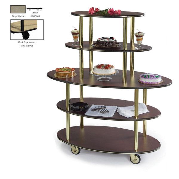 "Geneva 37212-09 5 Oval Shelf Dessert Cart with Beige Suede Finish - 24"" x 50"" x 56"" Main Image 1"