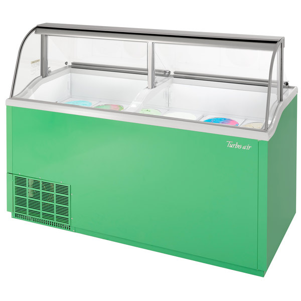 """Turbo Air TIDC-70G-N 70"""" Green Low Curved Glass Ice Cream Dipping Cabinet Main Image 1"""