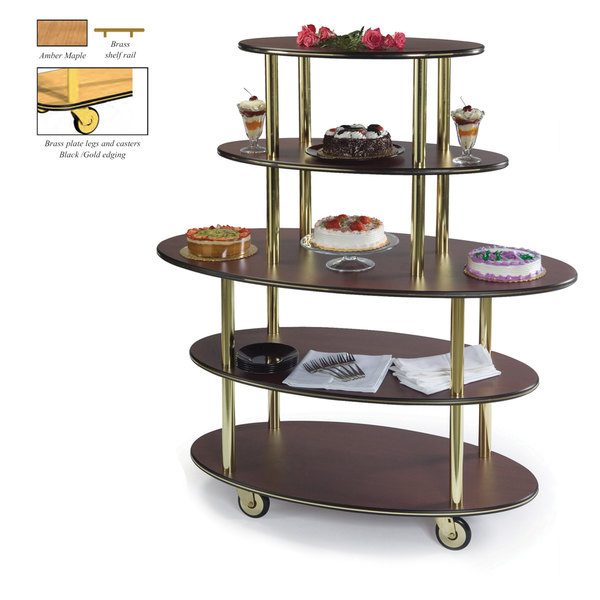 "Geneva 37212-10 5 Oval Shelf Dessert Cart with Amber Maple Finish - 24"" x 50"" x 56"""