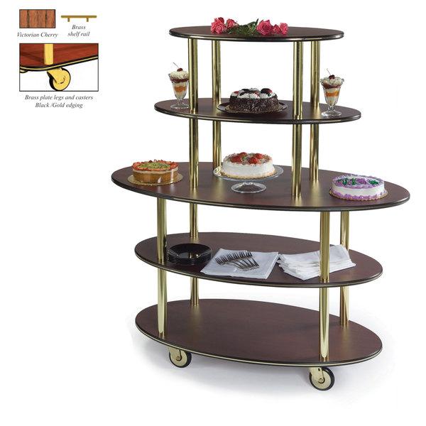 "Geneva 37212-02 5 Oval Shelf Dessert Cart with Victorian Cherry Finish - 24"" x 50"" x 56"""