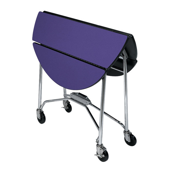 """Lakeside 415 Mobile Round Top Fold-Up Room Service Table with Purple Finish - 22 1/4"""" x 40"""" x 30"""""""