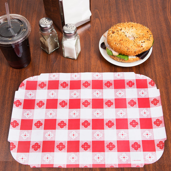 "Hoffmaster 309000 10"" x 14"" Red Gingham Paper Placemat - 1000/Case"
