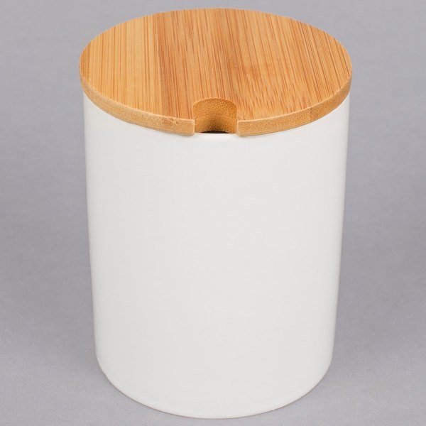 American Metalcraft PCBL12 12 oz. White Porcelain Canister with Bamboo Lid