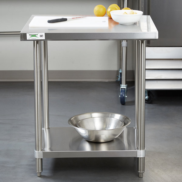 Regency X All Gauge Stainless Steel Commercial Work - Stainless steel work table with sink