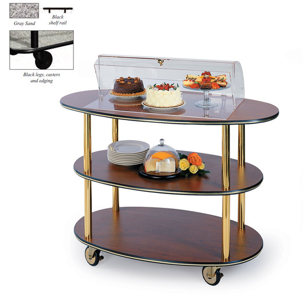 "Geneva 36303-01 3 Oval Shelf Table Side Service Cart with Acrylic Roll Top Dome and Gray Sand Finish - 23"" x 44"" x 44 1/4"" Main Image 1"