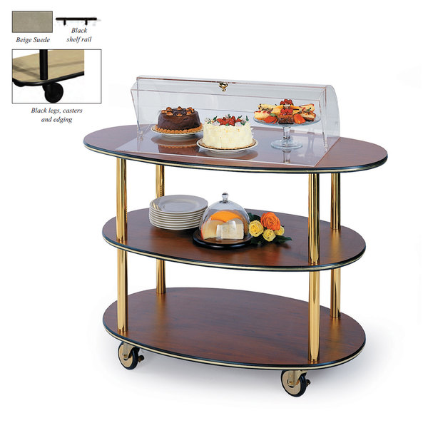 """Geneva 36303-09 3 Oval Shelf Table Side Service Cart with Acrylic Roll Top Dome and Beige Suede Finish - 23"""" x 44"""" x 44 1/4"""""""