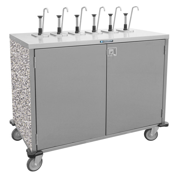 "Lakeside 70201GS Stainless Steel E-Z Serve 8-Pump Condiment Dispensing Cart with Gray Sand Finish for 3 Gallon Condiment Pouches - 27 1/2"" x 50 1/4"" x 48 1/2"""