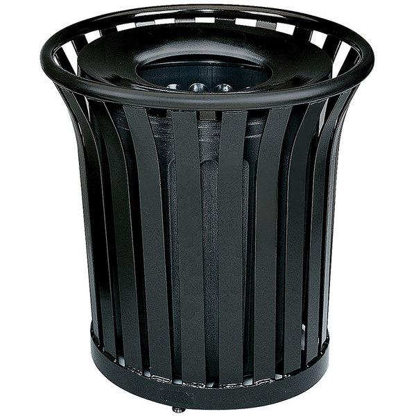 Rubbermaid FGMT32PLBK Americana Series Open-Top Black Round Steel Waste Receptacle with Rigid Plastic Liner 36 Gallon