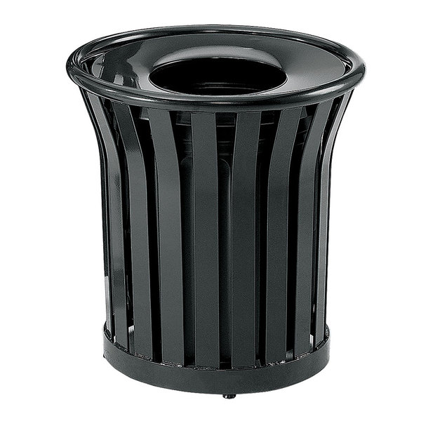 Rubbermaid FGMT22PLBK Americana Series Open-Top Black Round Steel Waste Receptacle with Rigid Plastic Liner 24 Gallon Main Image 1