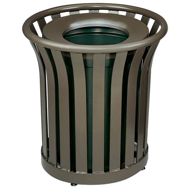 Rubbermaid FGMT22PLABZ Americana Series Open-Top Architectural Bronze Round Steel Waste Receptacle with Rigid Plastic Liner 24 Gallon Main Image 1