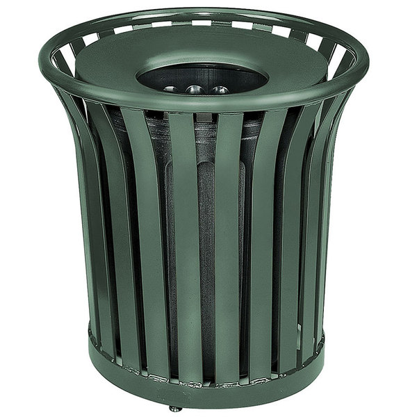 Rubbermaid FGMT32PLVSGN Americana Series Open-Top Green Round Steel Waste Receptacle with Rigid Plastic Liner 36 Gallon