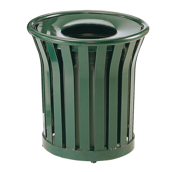 Rubbermaid FGMT22PLVSGN Americana Series Open-Top Green Round Steel Waste Receptacle with Rigid Plastic Liner 24 Gallon Main Image 1