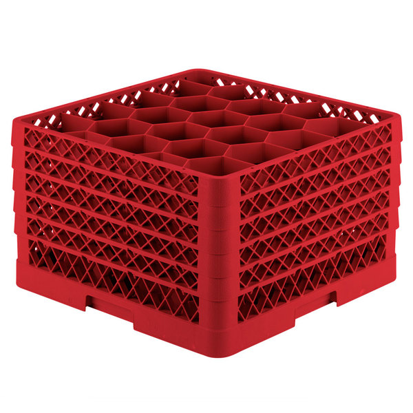 "Vollrath TR11GGGGA Traex® Rack Max Full-Size Red 20-Compartment 11 7/8"" Glass Rack with Open Rack Extender On Top Main Image 1"