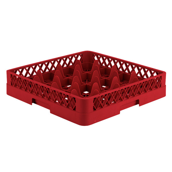 "Vollrath TR8 Traex® Full-Size Red 16-Compartment 3 1/4"" Glass Rack"