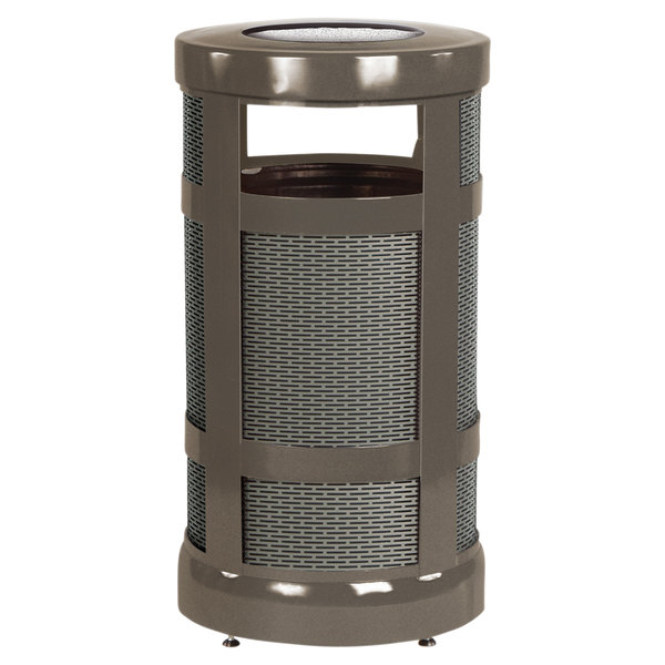Rubbermaid FGA17SUABZPL Architek Radius Urn Top Architectural Bronze Steel Waste Container with Urn and Rigid Plastic Liner 17 Gallon