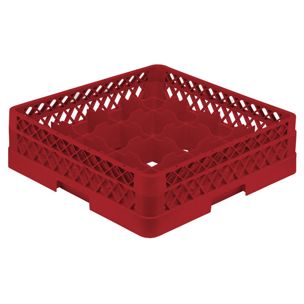"Vollrath TR8A Traex® Full-Size Red 16-Compartment 4 13/16"" Glass Rack with Open Rack Extender On Top"