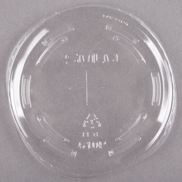 Dart Solo UltraClear 610TS Clear PET Plastic Lid with Straw Slot - 100/Pack