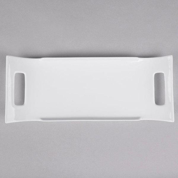 """10 Strawberry Street WTR-16RECHNDLPLTR Whittier 16 1/2"""" x 6 1/4"""" White Rectangular Porcelain Handled Platter - 12/Case"""