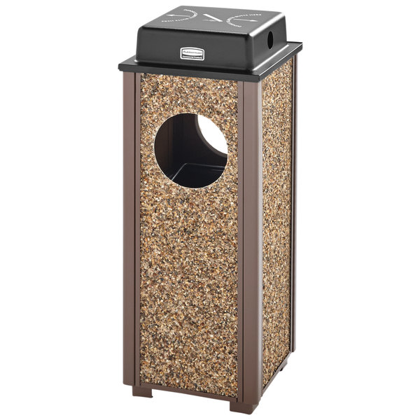 Rubbermaid FGR41WU201PL Aspen Ash/Trash Brown with Desert Brown Stone Panels Square Steel Waste Receptacle with Weather Shield and Rigid Plastic Liner 2.5 Gallon
