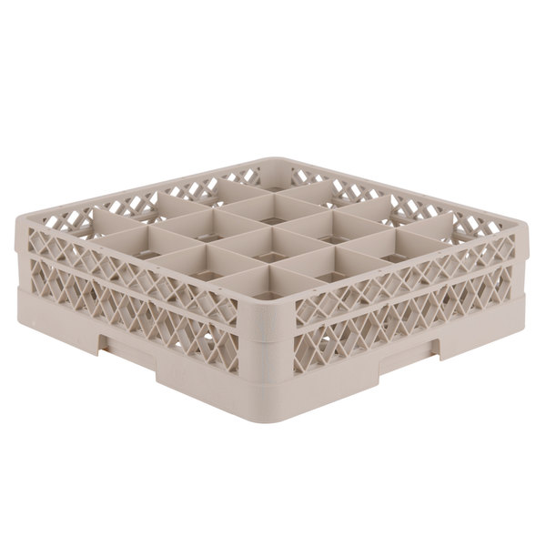 """Vollrath TR8D Traex® Full-Size Beige 16-Compartment 4 13/16"""" Glass Rack Main Image 1"""