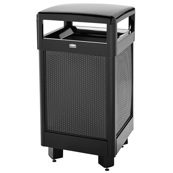 Rubbermaid FGR36HT500PL Dimension 500 Series Hinged-Top Black with Anthracite Perforated Steel Panels Square Steel Waste Receptacle with Rigid Plastic Liner 29 Gallon