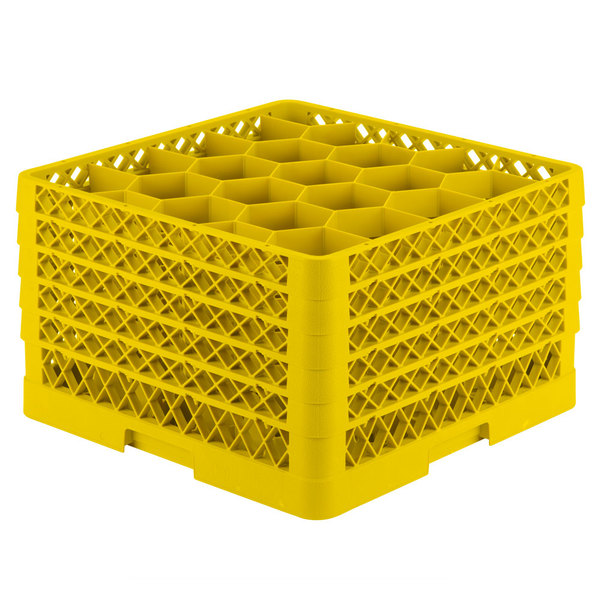 "Vollrath TR11GGGGA Traex® Rack Max Full-Size Yellow 20-Compartment 11 7/8"" Glass Rack with Open Rack Extender On Top"