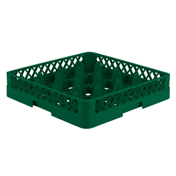 """Vollrath TR8 Traex® Full-Size Green 16-Compartment 3 1/4"""" Glass Rack"""