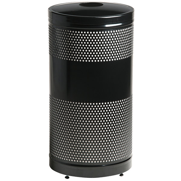 Rubbermaid FGS3EGBKPL Classics Black Round Steel Can/Bottle Recycling Container with Rigid Plastic Liner 25 Gallon