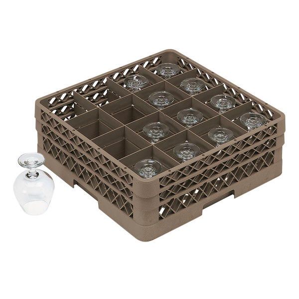 """Vollrath TR13D Traex® Full-Size Beige 16-Compartment 2 1/16"""" Glass Rack"""