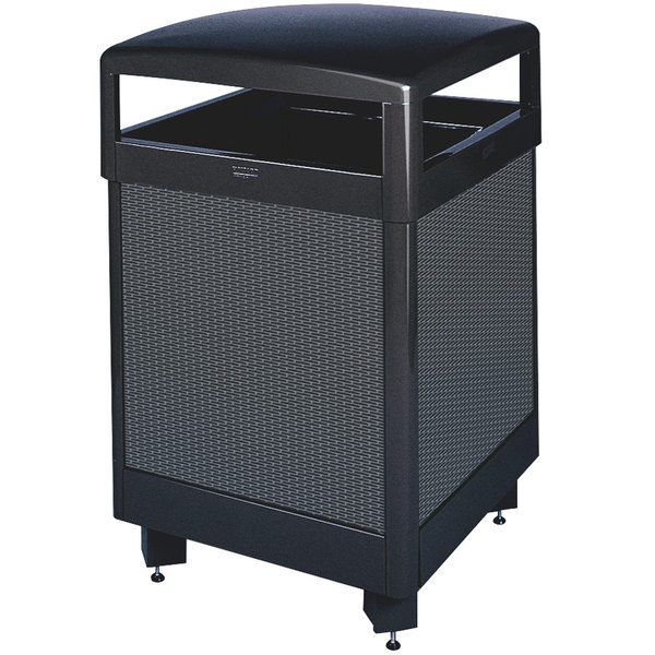 Rubbermaid FGR48HT500PL Dimension 500 Series Hinged-Top Black with Anthracite Perforated Steel Panels Square Steel Waste Receptacle with Rigid Plastic Liner 48 Gallon
