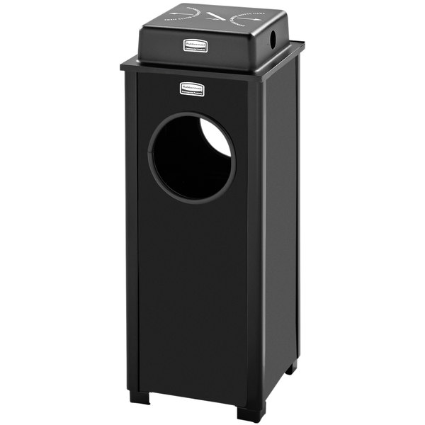 Rubbermaid FGR41WUSBKPL Dimension Standard Series Black Solid Panels Square Steel Ash/Trash Receptacle with Weather Shield and Rigid Plastic Liner 2.5 Gallon