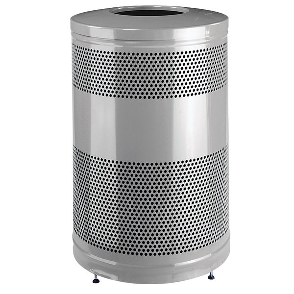 Rubbermaid FGS55ETSMPLBK Classics Silver Metallic Round Steel Drop Top Waste Receptacle with Levelers and Rigid Plastic Liner 51 Gallon