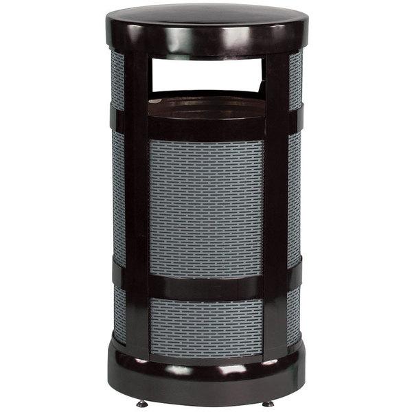 Rubbermaid FGA17BKPL Architek Radius Top Black Steel Waste Container with Rigid Plastic Liner 17 Gallon