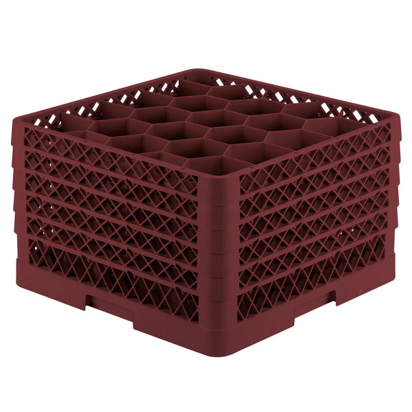 """Vollrath TR11GGGGA Traex® Rack Max Full-Size Burgundy 20-Compartment 11 7/8"""" Glass Rack with Open Rack Extender On Top Main Image 1"""